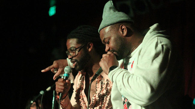 Adrian Younge (left) and Ghostface onstage at the Seattle stop of their tour last week. Erich Donaldson