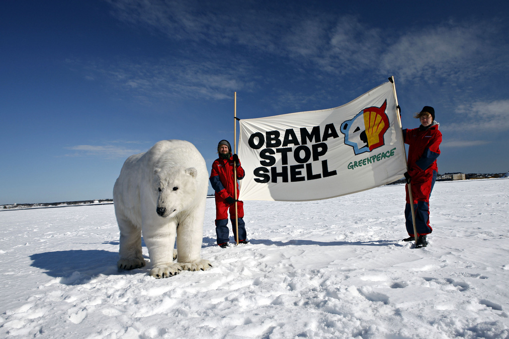 Paula the Polar Bear in front of Helsinki encouraging president Obama to stop Shell's Arctic drilling.