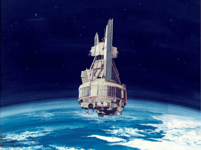 An artist's rendering of the Nimbus 1. NASA