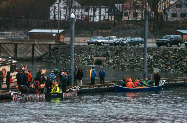 The two canoes prepare to leave Juneau on April 24.