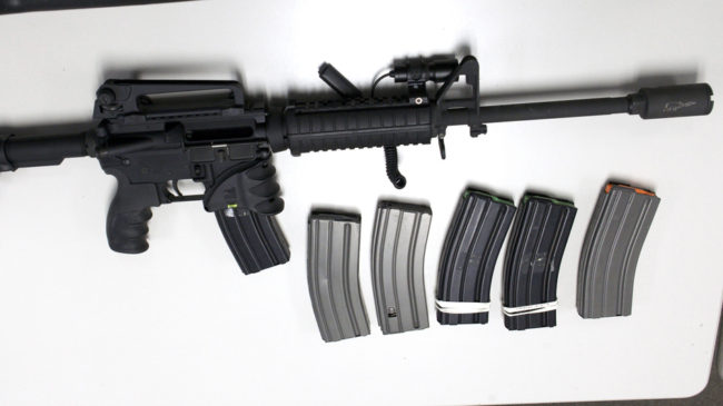A Bushmaster rifle, similar to the type used by Adam Lanza during the shooting at Sandy Hook Elementary School, and some ammunition magazines. The sale and possession of this type of weapon, and high-capacity magazines, will be severely restricted in Connecticut under new legislation. Michelle McLoughlin /Reuters /Landov