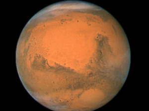 NASA's Hubble Space Telescope took this close-up of the red planet Mars when it was just 55 million miles away in 2007. NASA/UPI/Landov