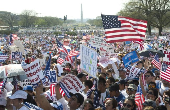"Thousands of immigration reform supporters march in the ""Rally for Citizenship"" at the Capitol in Washington, D.C., on Wednesday. Saul Loeb/AFP/Getty Images"