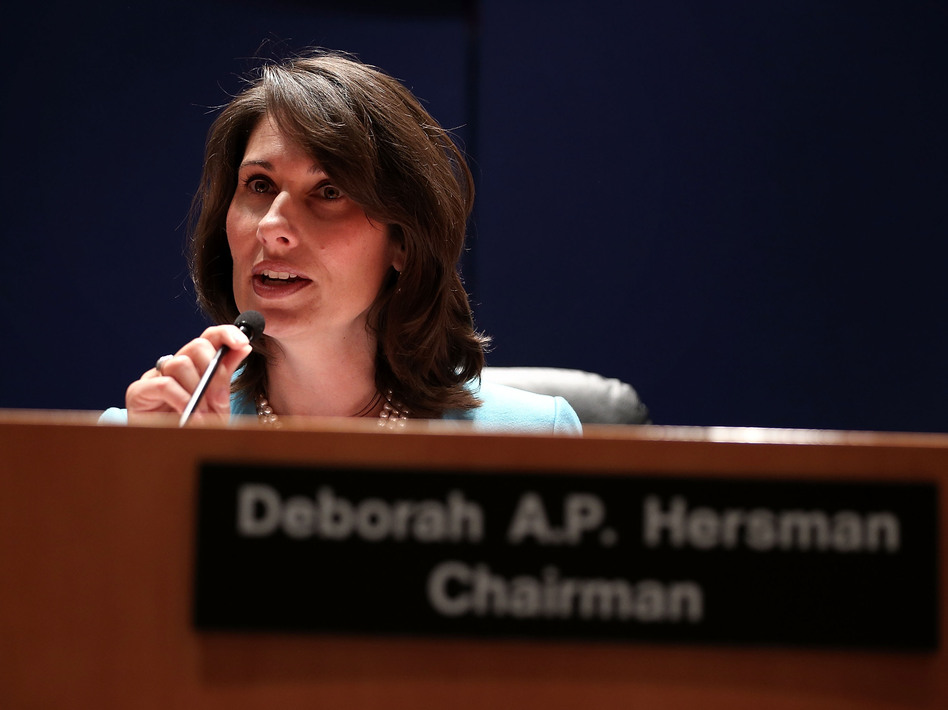 NTSB Chairman Deborah Hersman during Tuesday's hearing. Alex Wong/Getty Images