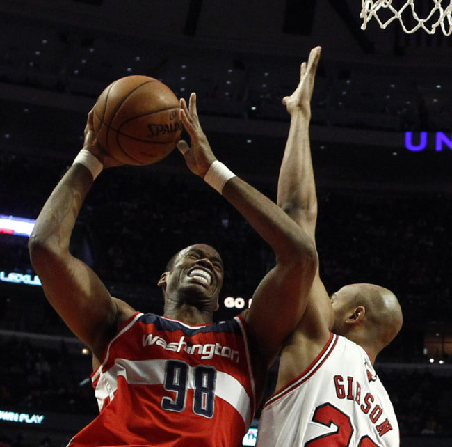 Jason Collins (left), then of the Washington Wizards, during a game this month against the Chicago Bulls. Jim Young /Reuters /Landov