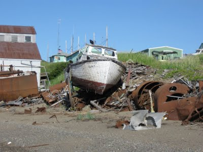A derelict fishing vessel on the North Shore of Egegik in Bristol Bay. Credit Mike Mason