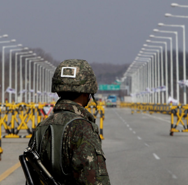 A South Korean soldier stands at a military checkpoint connecting South and North Korea at the Unification Bridge last week in Paju, South Korea. Chung Sung-Jun/Getty Images