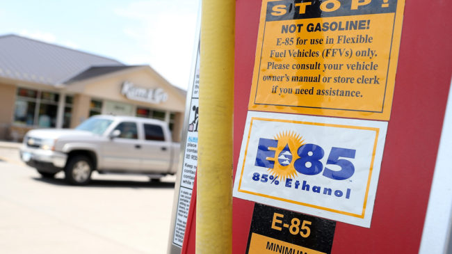 A decal advertising E85 ethanol is displayed on a pump at a gas station in Johnston, Iowa. Justin Sullivan/Getty Images