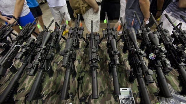 Guns on display at a show in Chantilly, Va., in July 2012. Jim Lo Scalzo /EPA /Landov