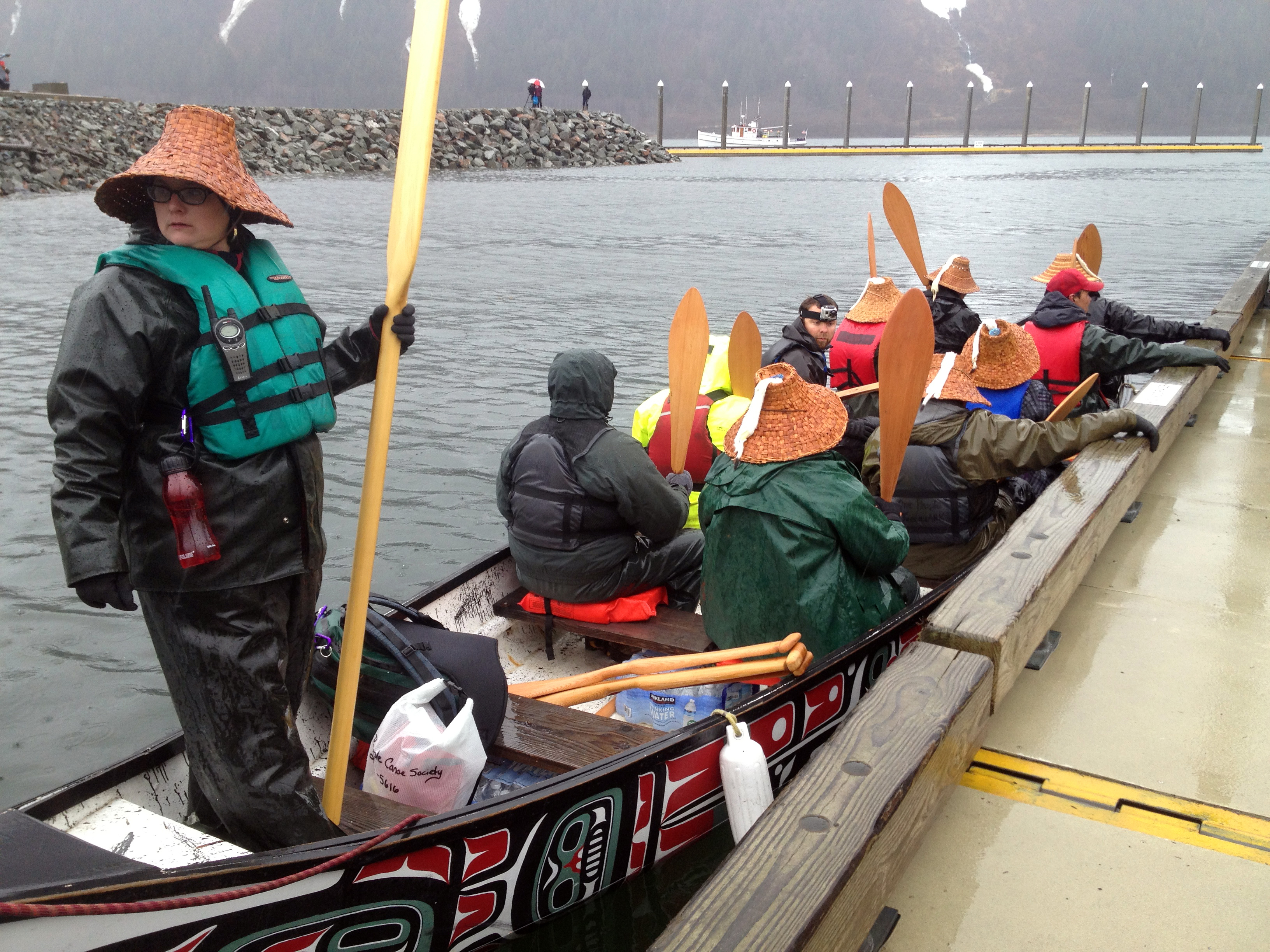 In Juneau on Tuesday, canoes were launched for an 8-day trip to Wrangell for the rededication of the Chief Shakes Clan House.