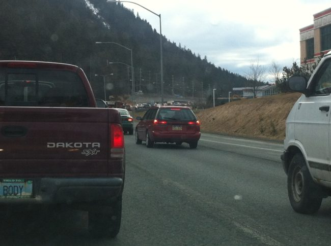 Traffic is backed up along Egan Drive near Salmon Creek due to a vehicle fire.