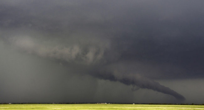 The funnel of this tornadic thunderstorm came close to the ground near South Haven, Kansas, on Sunday. Gene Blevins /Reuters /Landov