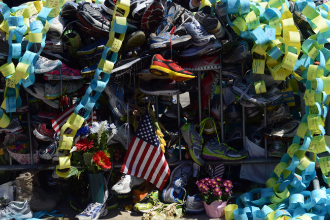 The memorial site in Copley Square to the Boston Marathon bombings is seen on Boylston Street on Tuesday. Darren McCollester/Getty Images