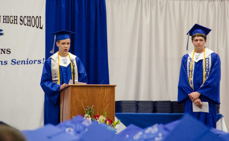 Thunder Mountain High School Co-Valedictorians, Ben Travers (left) and Andrew Rainey, spoke at Sunday's graduation.