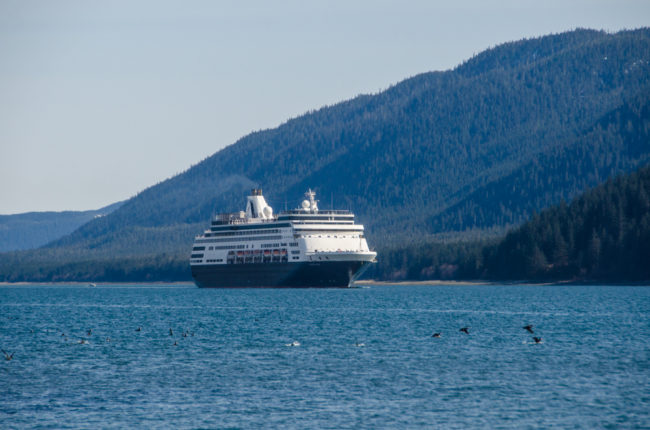 The cruise ship Statendam makes its way up Gastineau Channel.