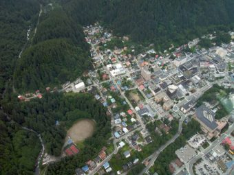 Downtown Juneau from above aerial