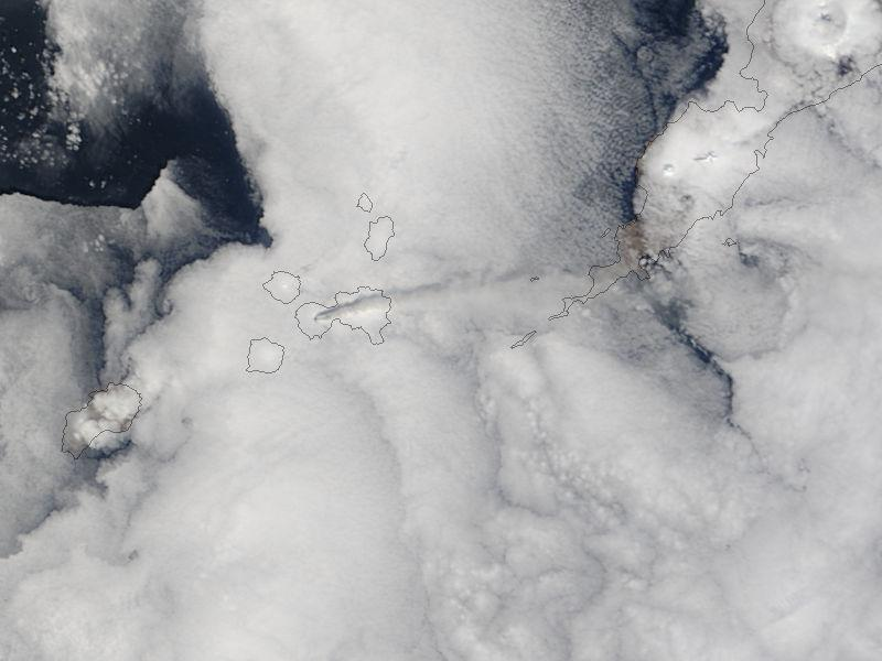 Terra MODIS satellite image of May 4 eruption plume from Cleveland/Credit: NASA