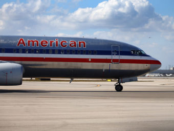 An American Airlines plane at Miami International Airport in February. Joe Raedle/Getty Images