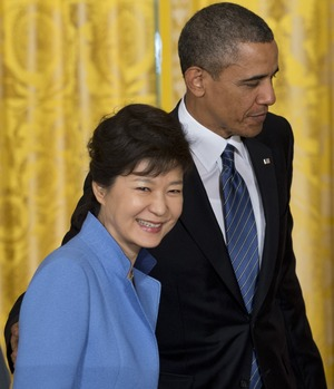 President Obama and South Korean President Park Geun-hye after a news conference at the White House on Tuesday. Saul Loeb/AFP/Getty Images