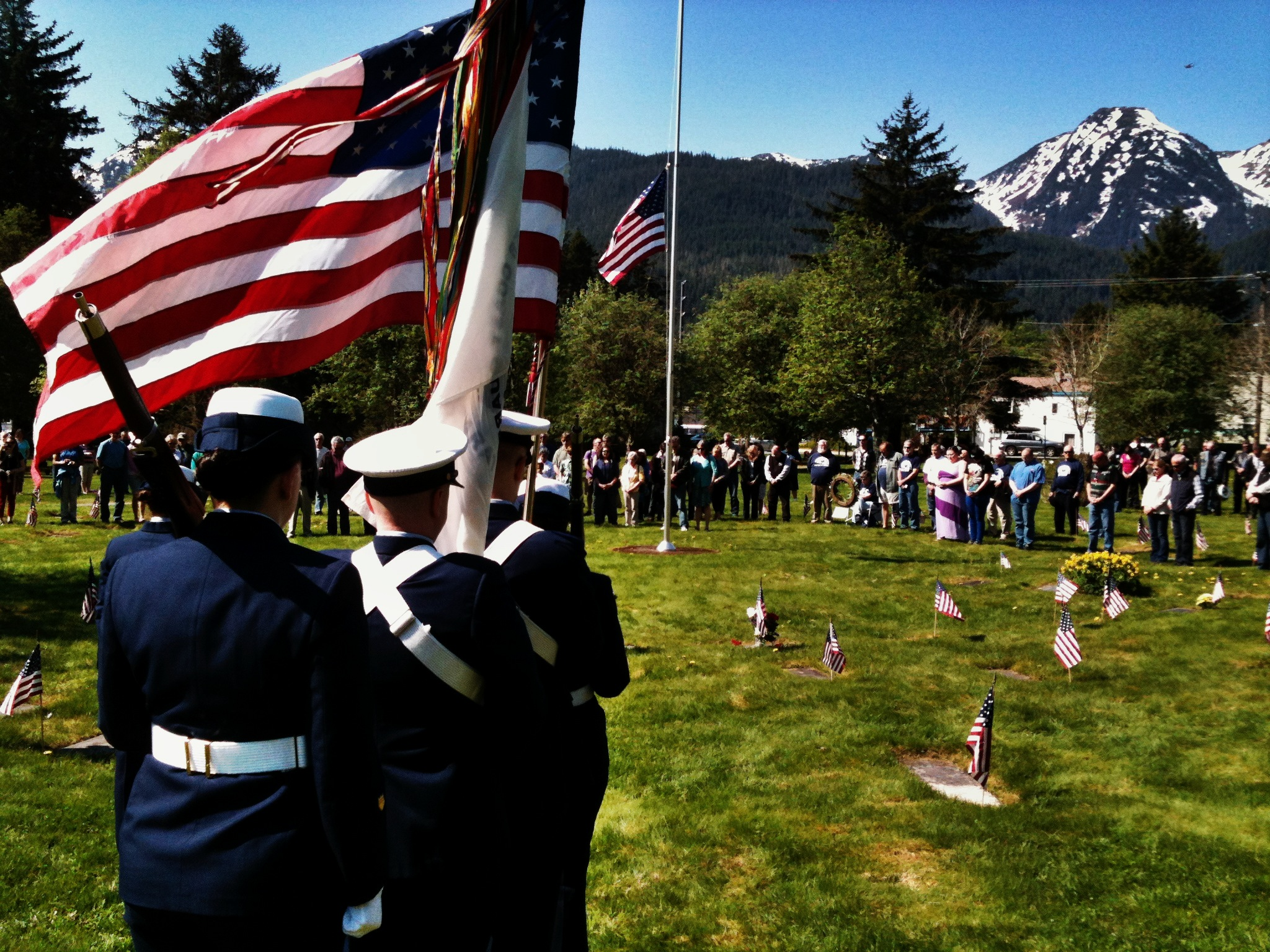 U.S.C.G. Color Guard at Evergreen Cemetary