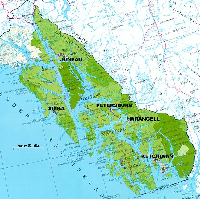 The Tongass National Forest includes most of Southeast Alaska. (Image courtesy U.S. Forest Service).