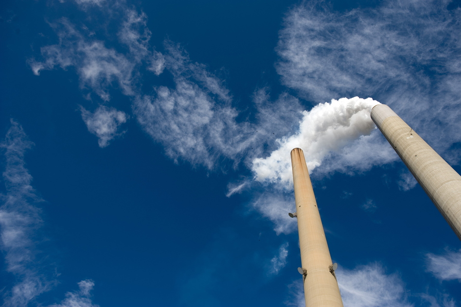 The smoke stacks at American Electric Power's Mountaineer coal power plant in New Haven, W.Va. Saul Loeb /AFP/Getty Images