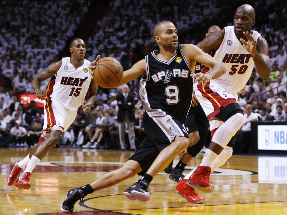 Tony Parker of the San Antonio Spurs during Thursday night's first game of the NBA finals in Miami. The Spurs beat the Miami Heat, 92-88. Mike Segar /Reuters /Landov