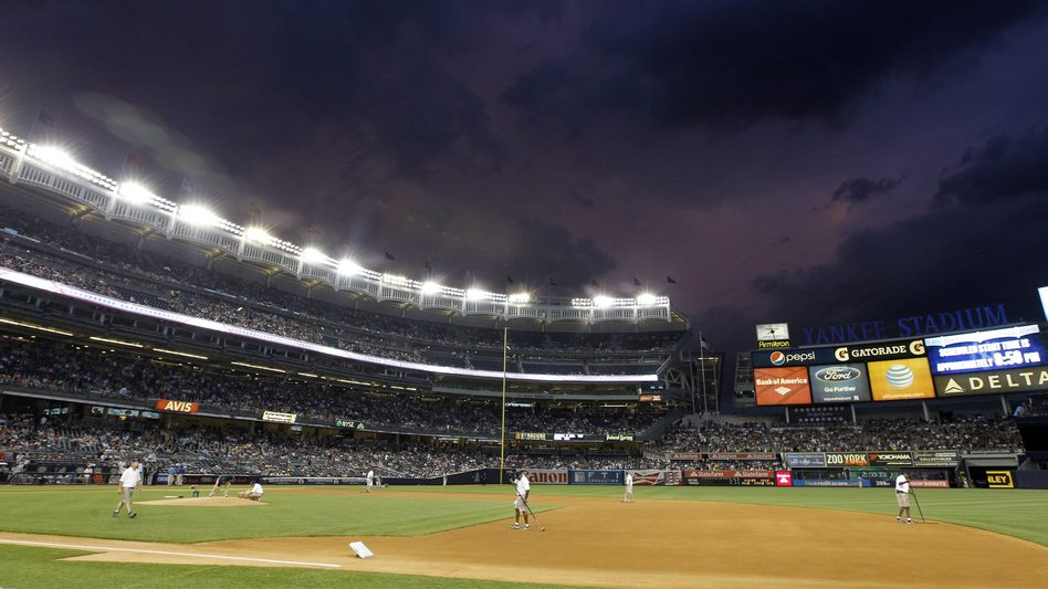Dark clouds hang over Major League Baseball. There are reports that about 20 players may be suspended because of their connections to a Miami clinic that dispensed performance-enhancing drugs. (Photo taken Sunday at Yankee Stadium.) Jason Szenes /EPA /LANDOV