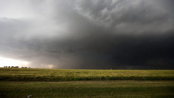 Friday's storm, which produced a mile-wide tornado, as it neared El Reno, Okla. Richard Rowe /Reuters /Landov