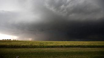Friday's storm, which produced a mile-wide tornado, as it neared El Reno, Okla. Richard Rowe /Reuters /Landov
