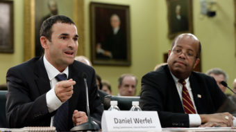 Acting IRS Commissioner Danny Werfel, left, testifies before the House Financial and General Government subcommittee, alongside Treasury Inspector General for Tax Administration J. Russell George. Win McNamee/Getty Images