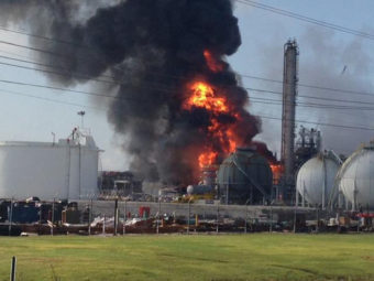 The plant on fire after it reportedly exploded Thursday in the town of Geismar, La. Ryan Meador/AP