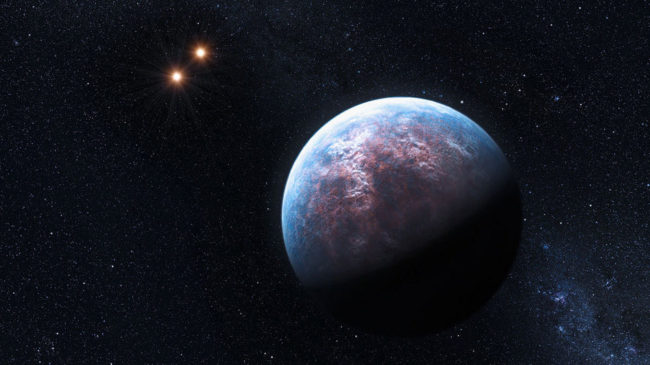 An artist's impression of one of the super-Earth's surrounding the star Gliese 667 about 22 light years from Earth. ESO/L. Calçada