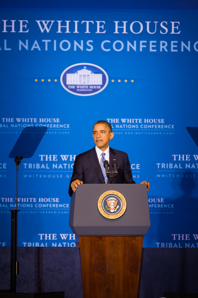 President Barack Obama addresses representatives invited from each of the 566 federally recognized American Indian tribes, and Alaska Native Villages, at the 2012 White House Tribal Nations Conference