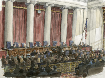 An artist's sketch of the scene during a U.S. Supreme Court hearing earlier this year. Art Lien /Reuters / Landov