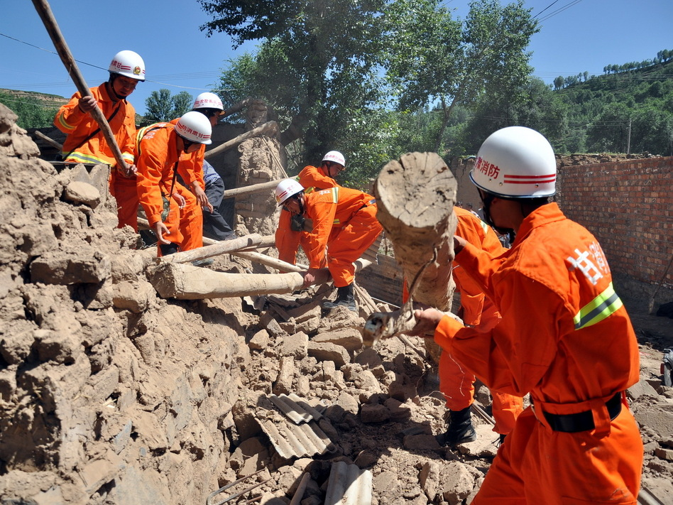 Rescuers in China