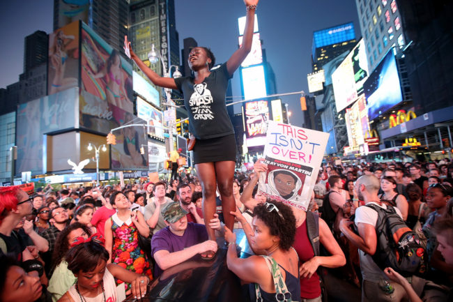 Trayvon Martin supporters rally in Times Square on Sunday in New York City. Mario Tama/Getty Images