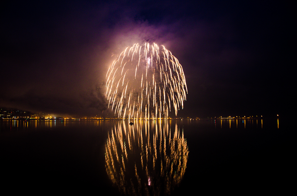Fireworks over Juneau's harbor.