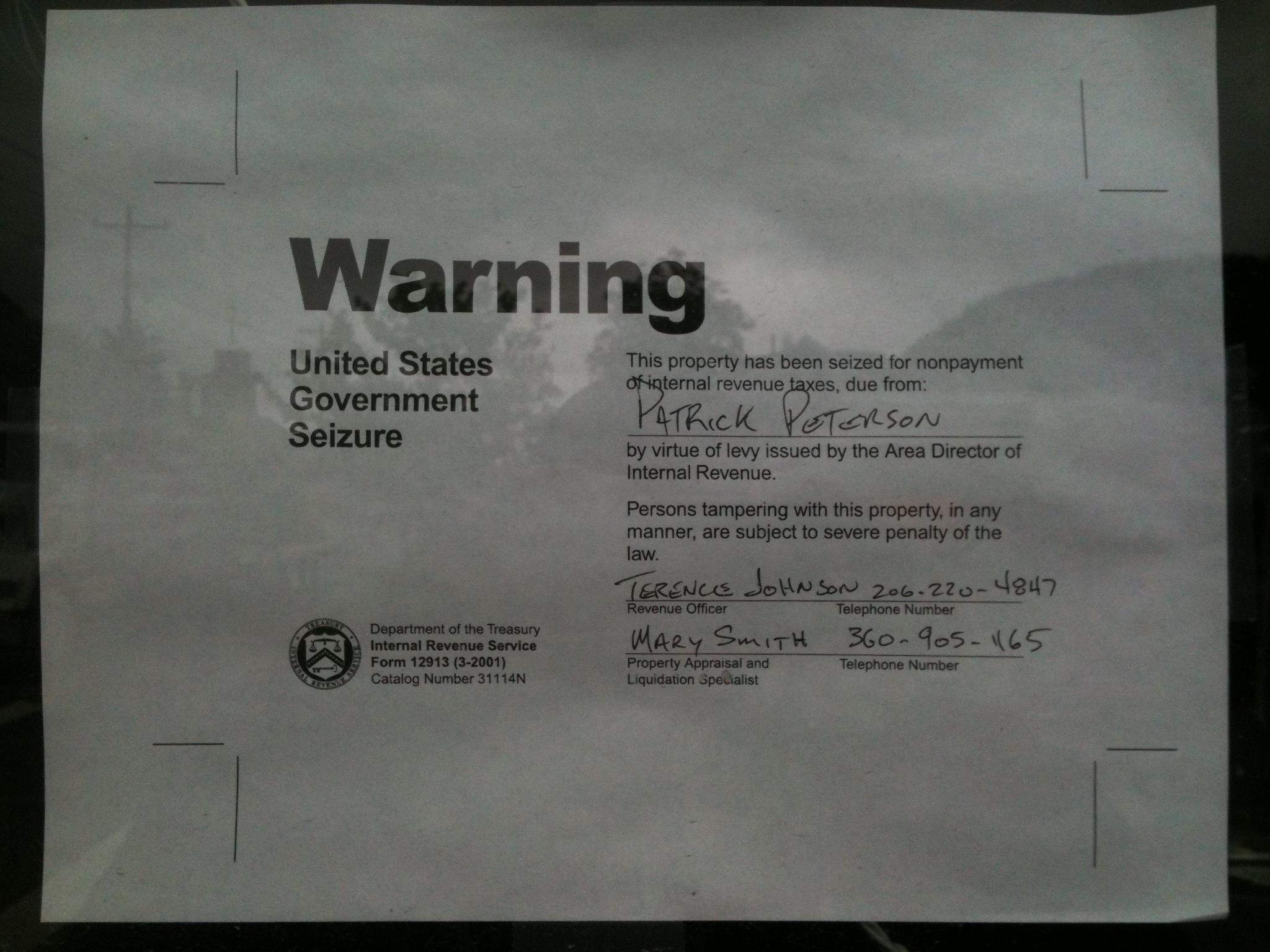 Seizure notice