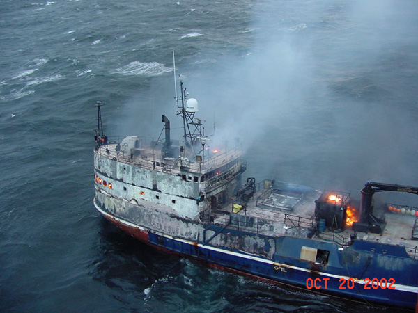 FPV Galaxy on fire in the Bering Sea, Oct. 20, 2002.  Courtesy U.S. Coast Guard.