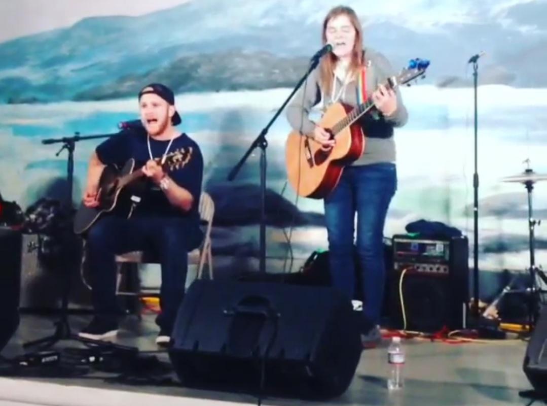 Liz Snyder and Alex Kotlarsz peform at Homeskillet Festival in Sitka, Alaska. Screen capture from Nicholas Galanin.