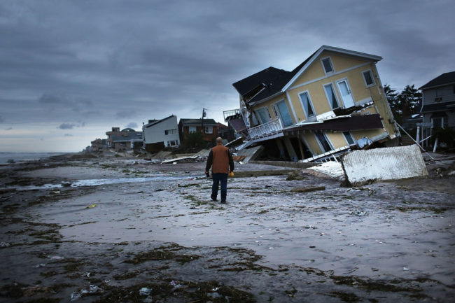 Damage is viewed in the Rockaway neighborhood where the historic boardwalk was washed away during Hurricane Sandy on October 31, 2012. Spencer Platt/Getty Images