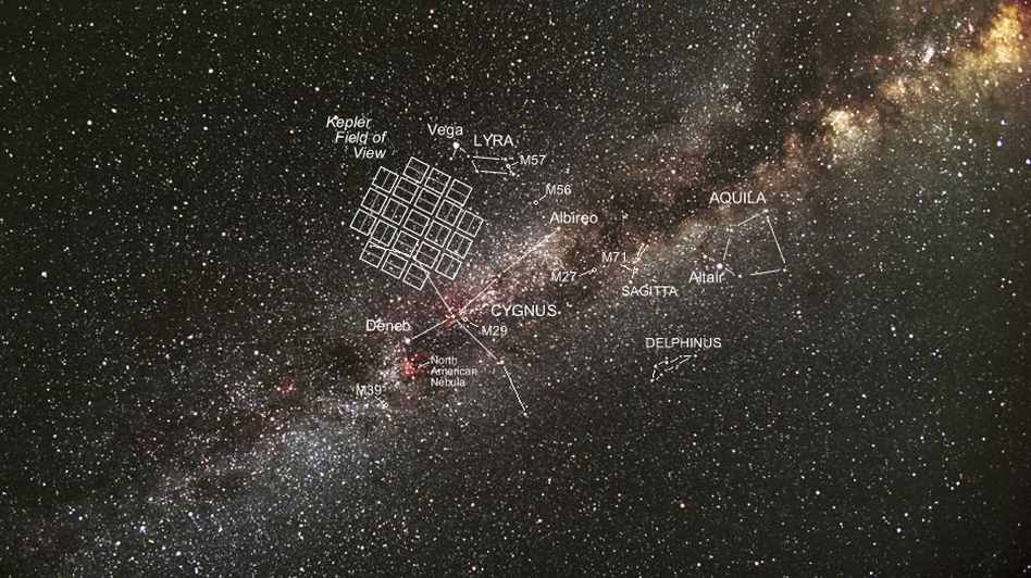 The Kepler Space Telescope was focused on hunting for planets in this patch of the Milky Way. Without two of its four spinning reaction wheels, it can't keep its gaze on target. Carter Roberts/NASA