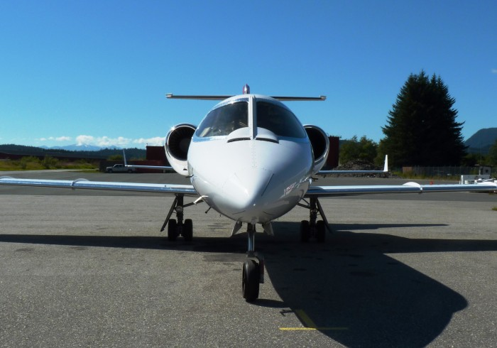 An Airlift Northwest Lear Jet waits for a medevac call at Juneau's airport.