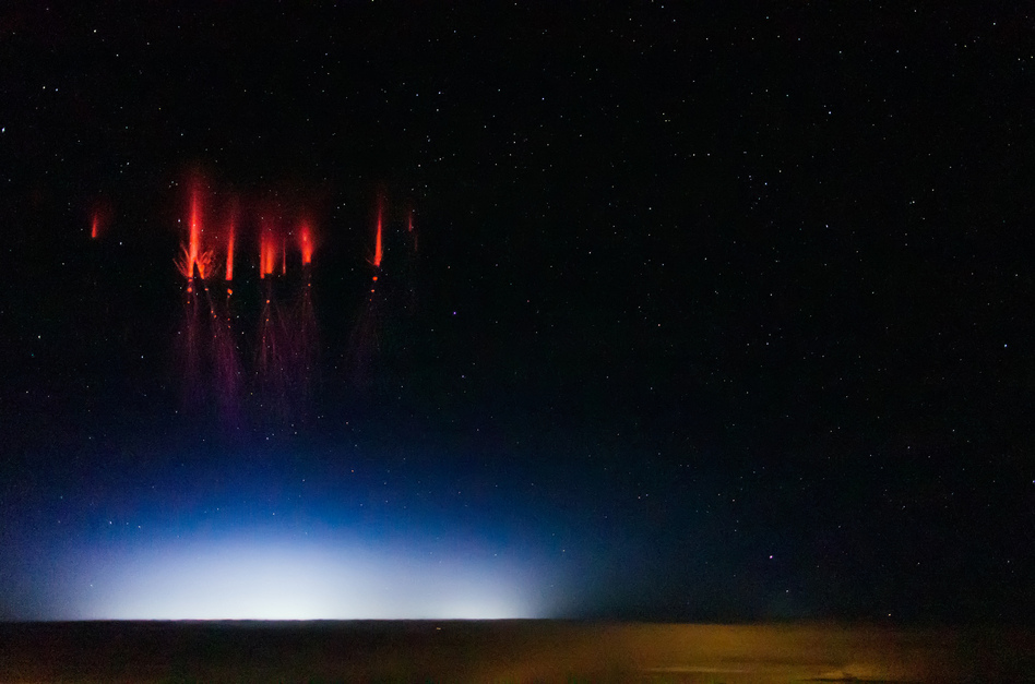 Sprites sparkle over Red Willow County, Neb., on Monday. Jason Ahrns/Flickr