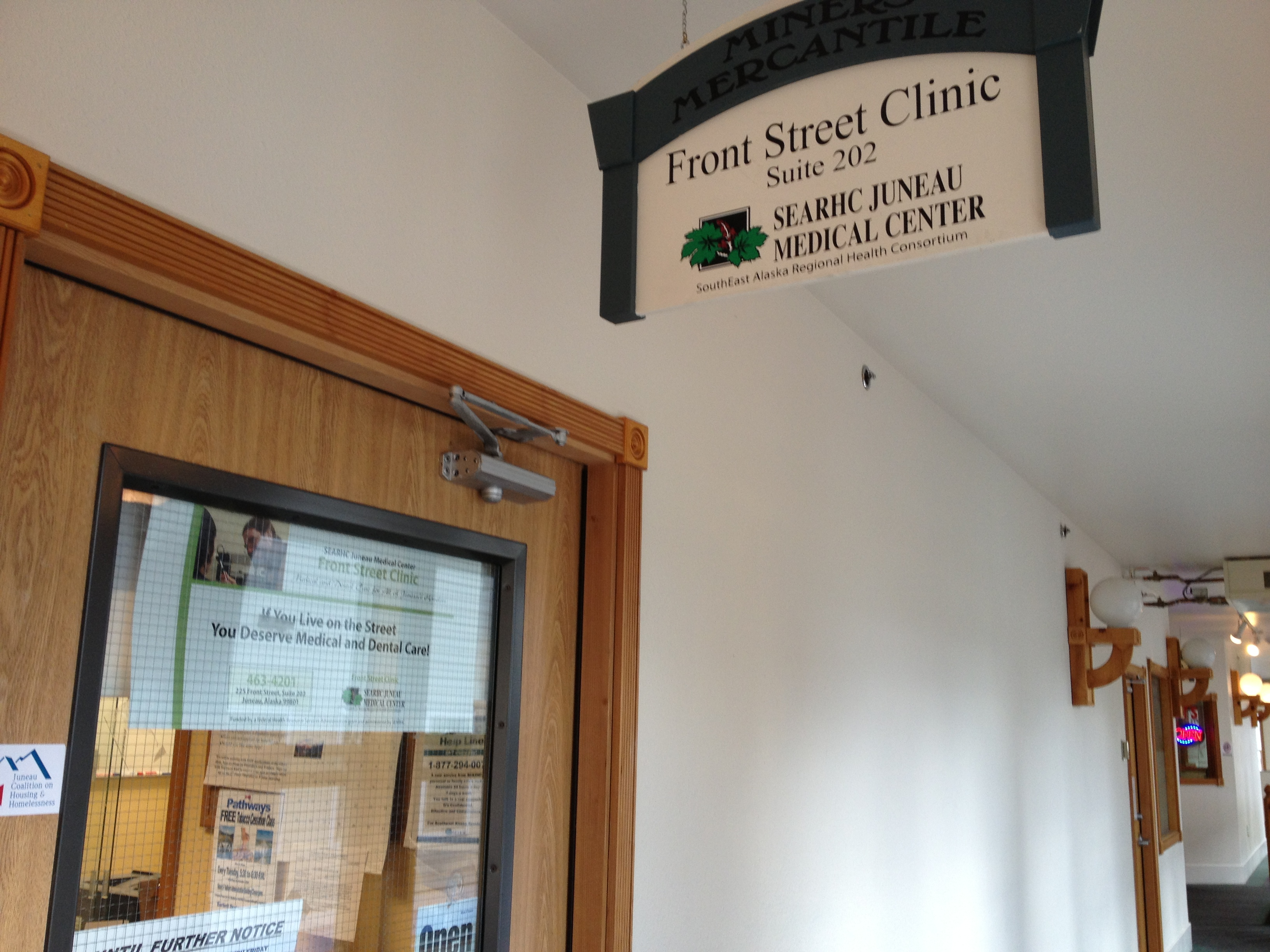 Front Street Clinic is upstairs in the Miners' Mercantile building. It's open Monday through Friday, 8 am to 5 pm. (Photo by Lisa Phu/KTOO)