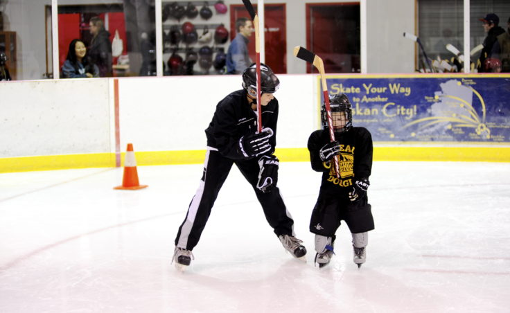 JDIA player Greyson Liebelt demonstrates how to correctly grip a hockey stick during JDIA's Learn to Play event Saturday at Treadwell Ice Arena.