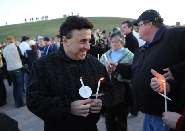 Columbine High School Principal Frank DeAngelis at a candlelight vigil at the Columbine Memorial at Clement Park near Littleton, Colo., in April of 2009. Chris Schneider/AP