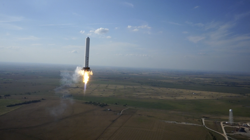 "The ""Grasshopper"" during its hop into the air. SpaceX"