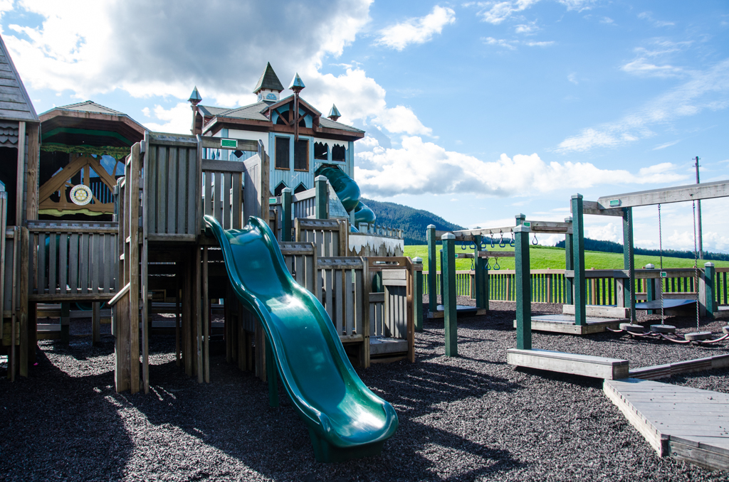 Slides and play equipment at Twin Lakes playground.